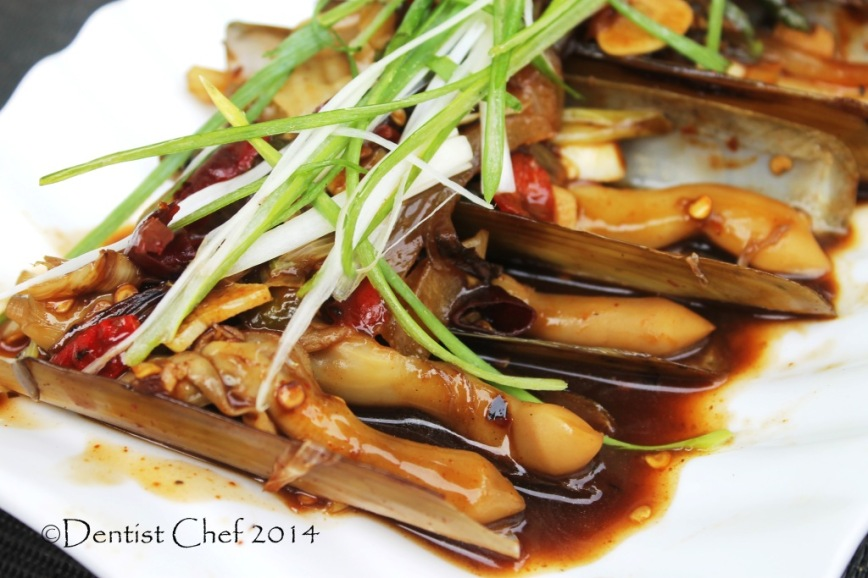 recipe stir fried razor clams chinese style oyster sauce bamboo clams jack knife clams Gould's razor shell
