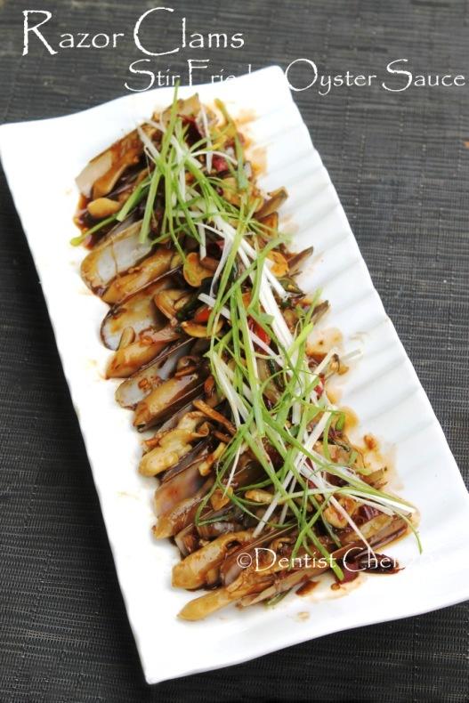 recipe stir fried razor clams oyster sauce bamboo clams jack knive clams garlic ginger chili wok fried recipe