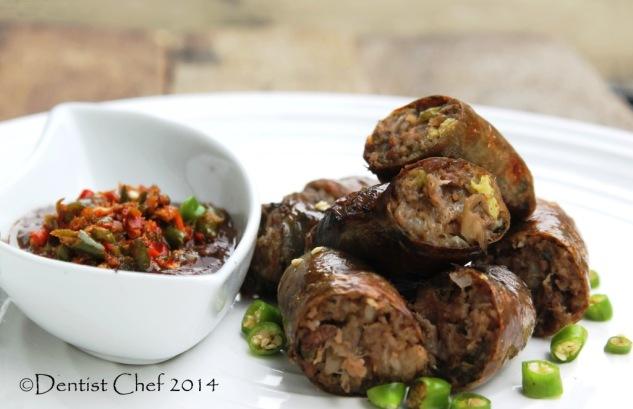 resep cara membuat kidu kidu sosis babi batak karo usus babi isi daging sayuran pedas gotah getah darah andaliman cabe pedas