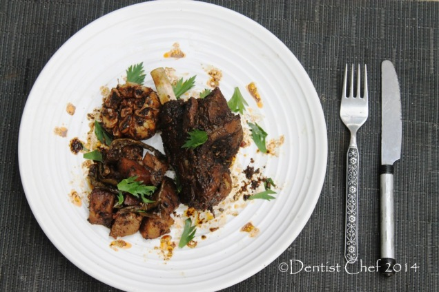 slow roasted goat leg shank harissa recipe potato rosemarry and garlic