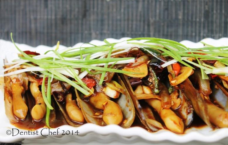 stir fried razor clams oyster sauce jack knifes clams chinese style wok fry razor clams garlic chili ginger