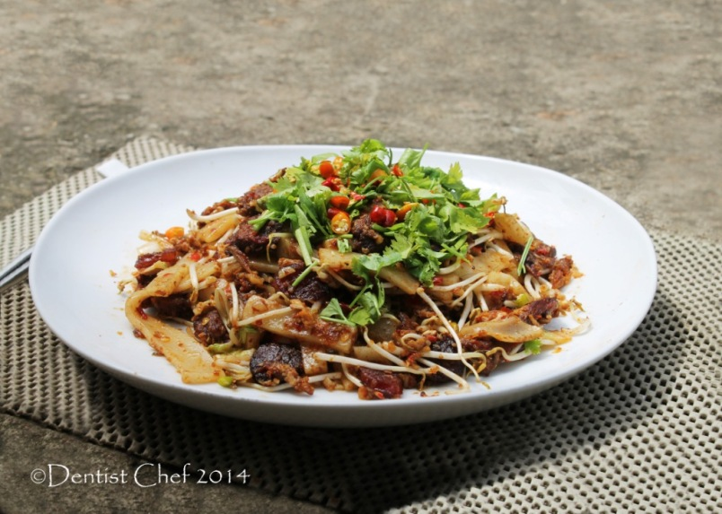 wagyu beef char kaw teow xo sauce flat rice noodle stir fried beansprout egg chili rice cake