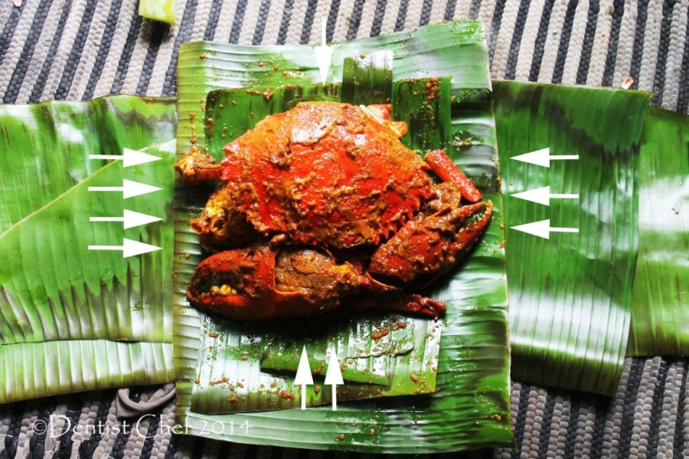 banana leaves wrapped crab recipe barbequed mud crab grilled charcoal spicy seasoning chili