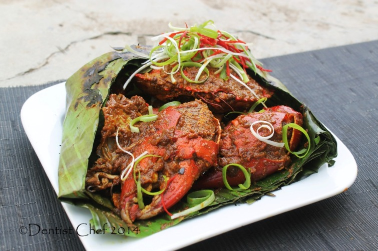 recipe banana wrapped crab spicy chili garlic kepiting asap bumbu pedas