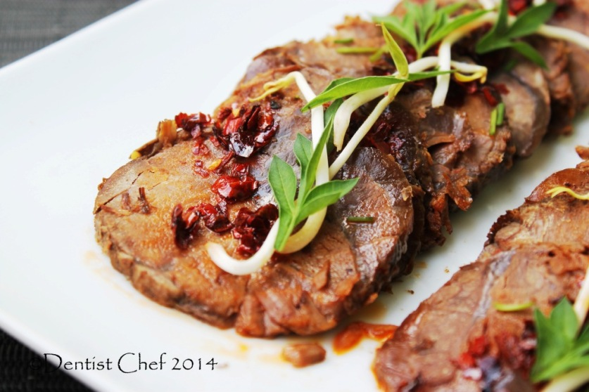 recipe braised beef shin shank spicy soy sauce chili ginger garlic slow cooked beef shank cold appetizer thin sliced