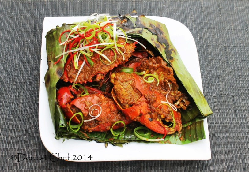 recipe mud crab spicy chili shrimp paste seasoning barbequed crab wrapped banana leaves grilled charcoal resep kepiting asap bumbu pedas
