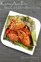resep kepiting asap pedas grilled spicy crab wrapped in banana leaves with chili shrimp paste