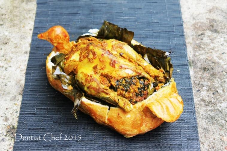 ayam betutu bali pedas balinese style spicy chicken salt crust banana leaves wrapped chicken spicy chili seasoning