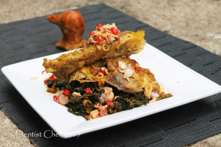 Bali ayam betutu bumbu pedas sambal sereh daun ubi cassava leaves stuffed spicy roasted chicken balinese style