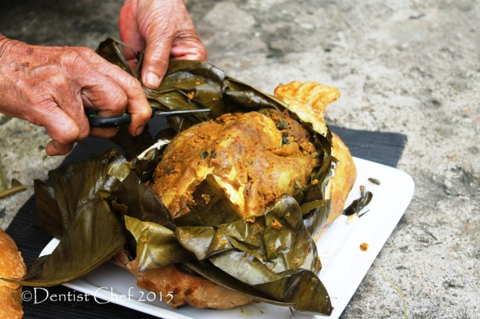 banana leaves wrapped chicken spicy roasted whole spring chicken balinese style ayam betutu chicken