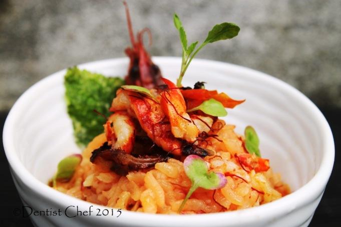 crayfish risotto saffron italian rice lobster tomato risoto chorizo basil oil