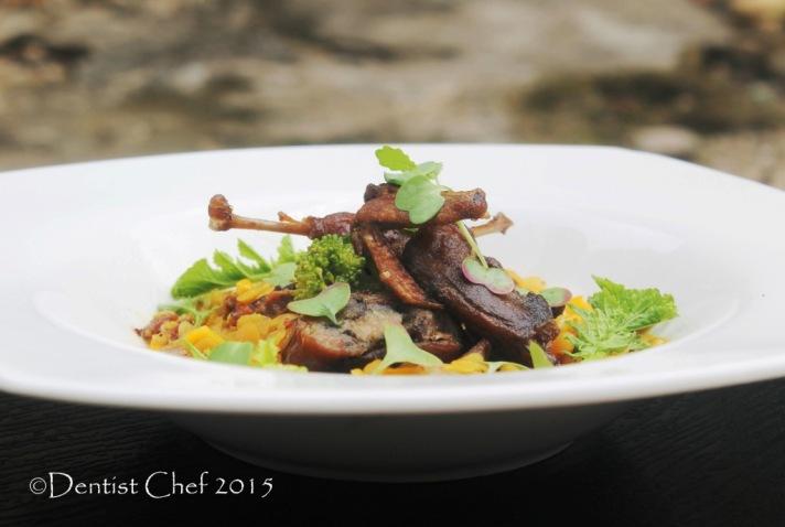 crispy quail confit recipe game bird tender slow cooked braised lentil chorizo saffron both stock
