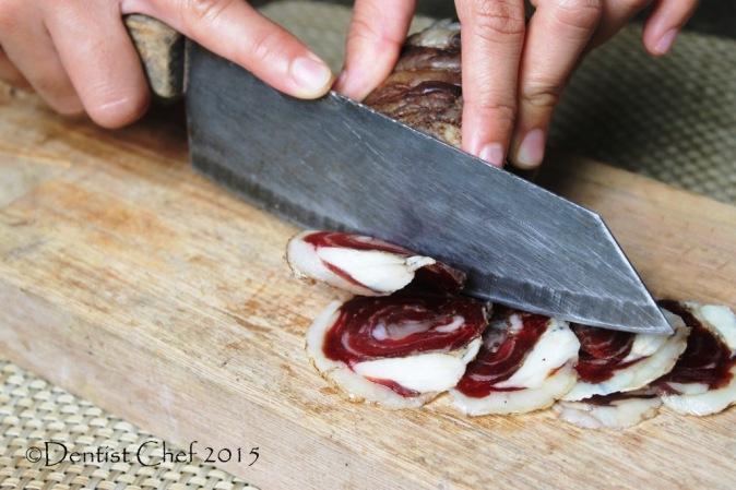 homemade lamb pancetta thin slice knive manual charcuterie lamb belly panceta