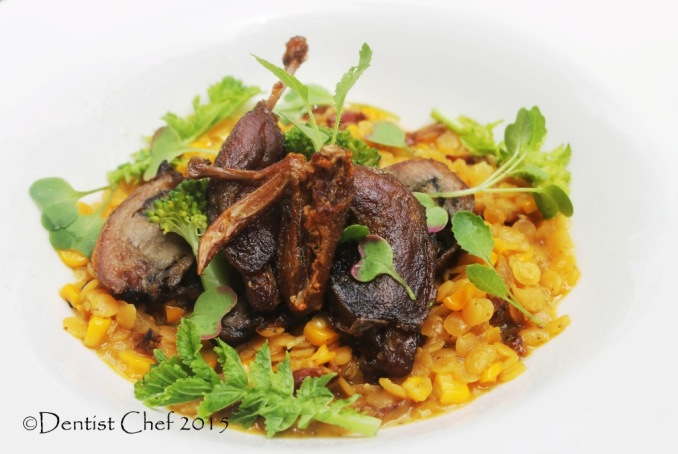quail confit recipe tender slow cooked quail leg breast slow cooked lentil saffron broth stock recipe