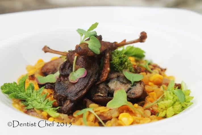quail leg confit recipe lentil spicy chorizo stew lentil saffron broth