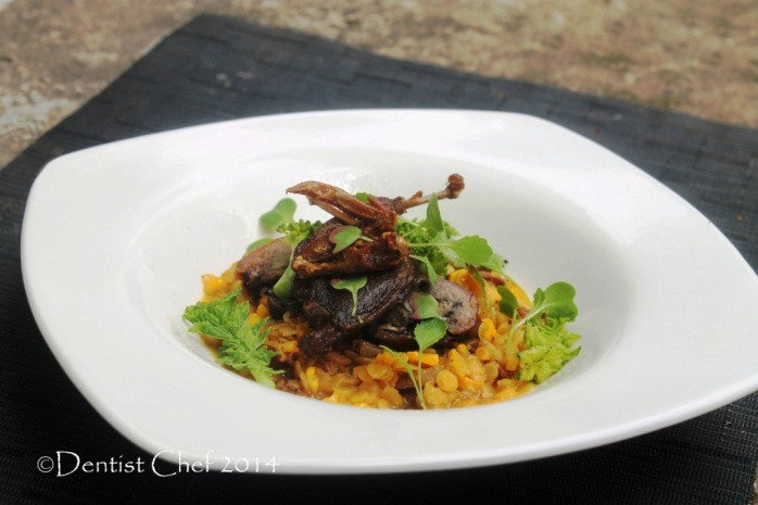 recipe quail confit fine dining game bird slow cooked tender lentil with chorizo butter garlic