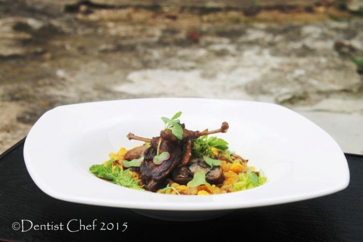 recipe roasted quail confit tender slow cooked quail lentil braised chorizo