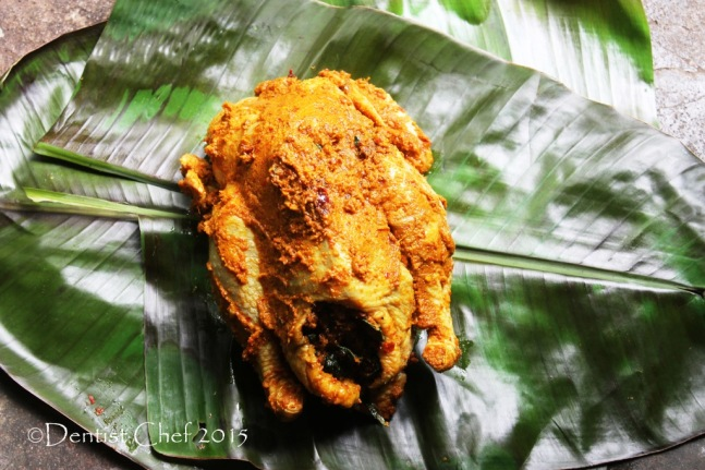 resep ayam betutu bali bumbu pedas daun pisang isi daun singkong balinese style banana leaves wrapped grilled chicken spicy bali seasoning stuffed cassava leaves recipe