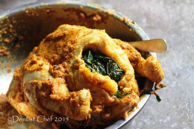 resep ayam betutu pedas bumbu bali isi daun ubi singkong cassava leaves stuffed chicken spicy marinated balinese chicken