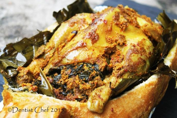 resep ayam panggang betutu bali pedas bakar oven bungkus daun pisang ayam isi daun ubi base genep