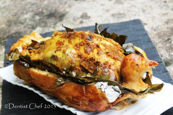 roasted chicken balinese spicy ayam betutu wrapped banana leaves chicken cassava leaves stuffed chicken