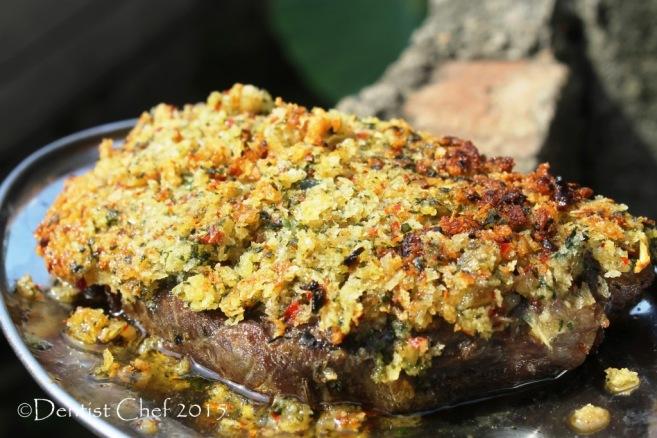 bone marrow crust steak beef sirloin sous vide crispy herbs basil crisp striploin sousvide