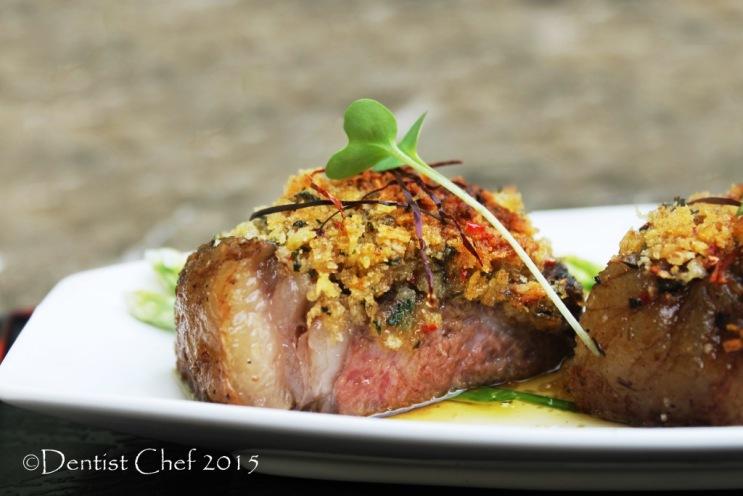 bone marrow sauce steak beef herbs basil crusted sirloin sous vide striploin black angus medium done