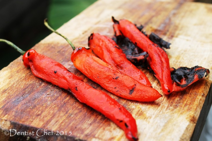 grilled chilies pepper romesco sauce choron salsa roasted chili pepper