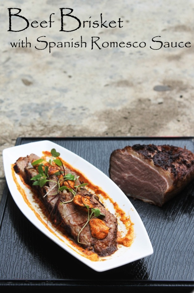 Recipe Beef Brisket Steak Romesco Sauce Sousvide 24 Hours Beef Belly Roasted Red Pepper Pine Nuts Pesto