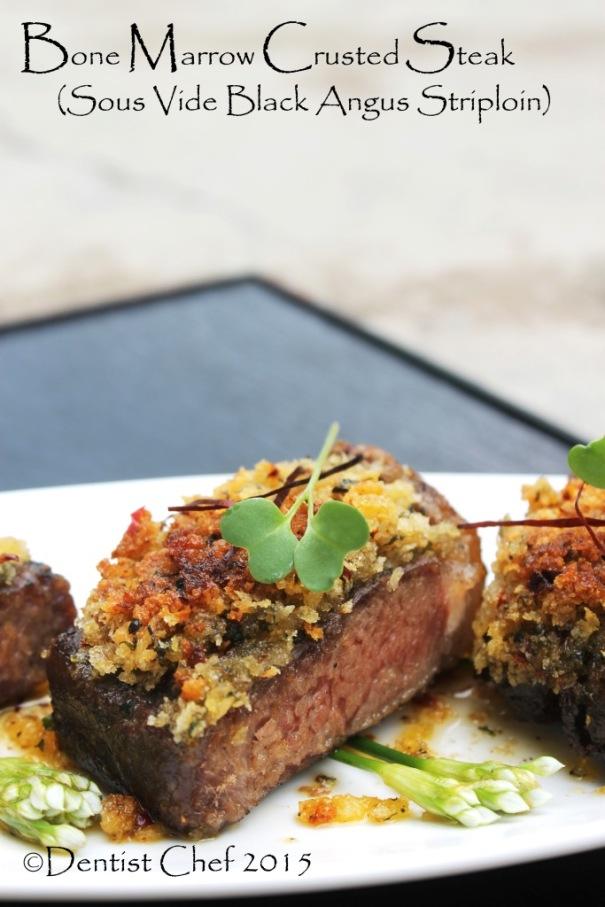 recipe bone marrow crust steak beef sirloin sous vide medium done