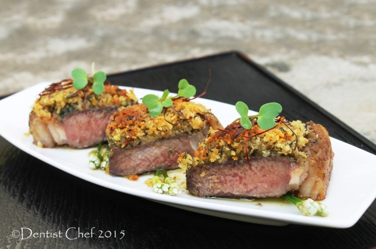 recipe bone marrow crusted steak beef sirloin sous vide medium done black angus beef striploin basil herbs crust