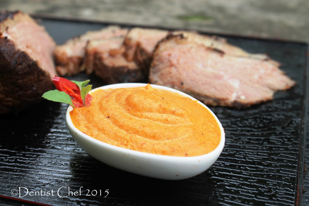... Steak with Spicy Romesco Sauce with Grilled Chili Pepper and Pine Nuts