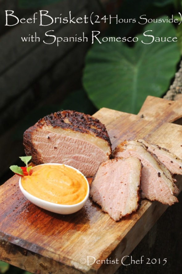 Recipe Sousvide Beef  Brisket Tender 24 Hours Slow Cooked Beef Belly Romesco Salsa Roasted Red Pepper Sauce Pine Nuts