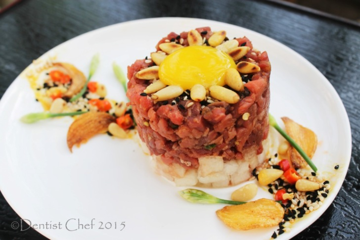 recipe yukhoe korean raw beef tenderloin salad pear egg yolk pine buts gochujang bean paste
