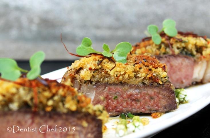 Recipe bone marrow crusted steak beef sirloin sous vide