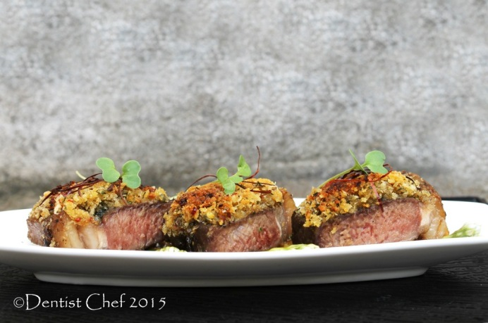 sous vide striploin steak bone marrow crusted sirloin beef lemon basil herbs crispy crust