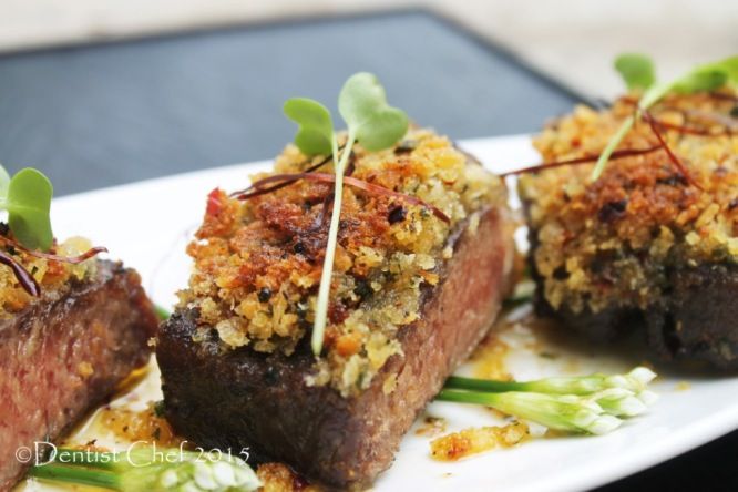 sousvide striploin beef steak bone marrow crusted crispy herb crust sirloin steak sous vide