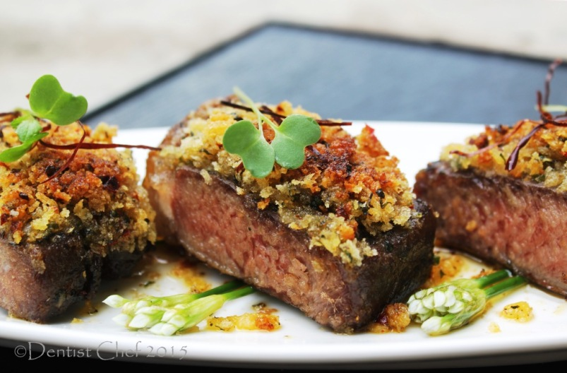 striploin steak sous vide bone marrow crusted sirloin black angus beef herbs crust