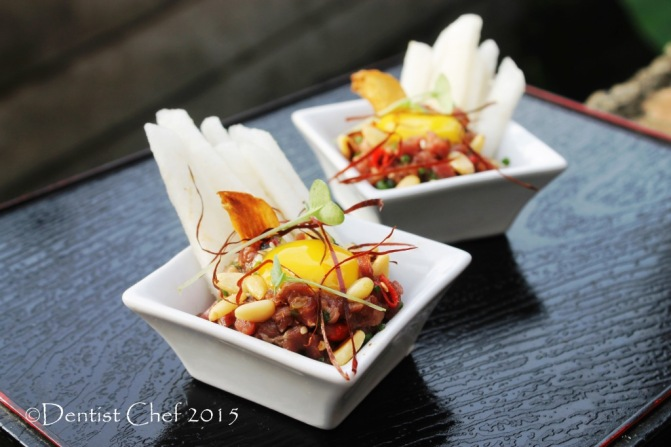 yukhoe korean raw beef pear salad marinade gochujang soy sauce, chili sesame oil pine nuts
