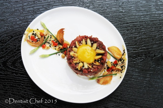 yukhoe recipe raw beef tenderloin korean steak tartare pear sesame oil gochujang pine nuts egg yolk