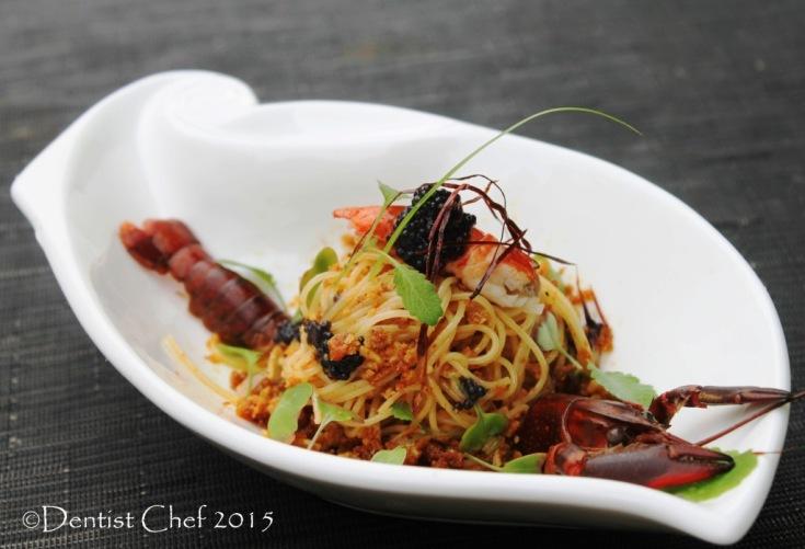 Bottarga sauce pasta recipe spaghetti botargo di tonno tuna roe aglio olio stir fried pasta crayfish confit lobster tail sousvide