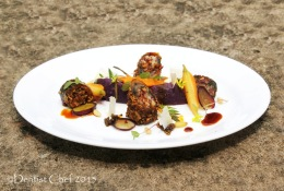Recipe  Bottarga Crusted Sous Vide Eel Fish Fillet Stuffed with Spanish Chorizo, Basil, Saffron & Cheese, Served with Balsamic Reduction,  Mashed Purple Sweet Potato, Sous Vide Carrot, Edible Mustard Blossom & MicroHerbs