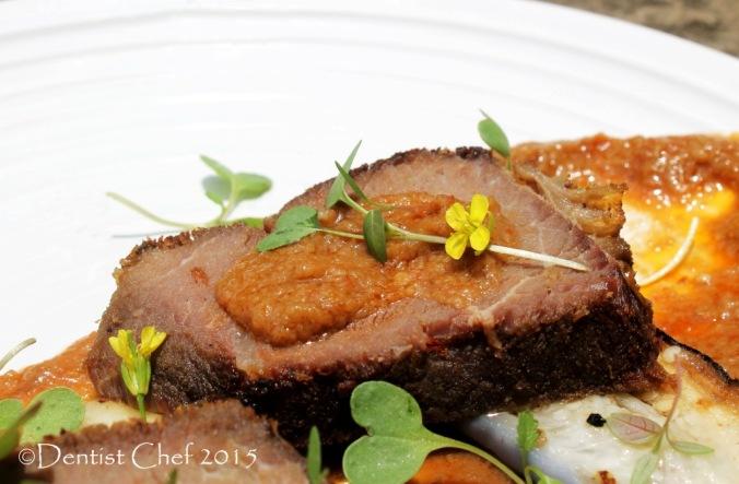pan fried venison steak sous vide brown sauce reindeer wild game deer meat slow cooked