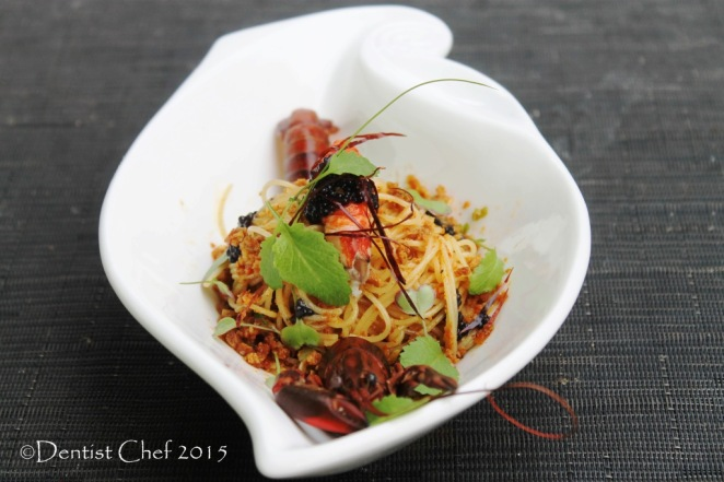 pasta bottarga sauce stir fried spaghetti tuna botargo lobster confit sousvide crayfish aglio olio angel hair pasta