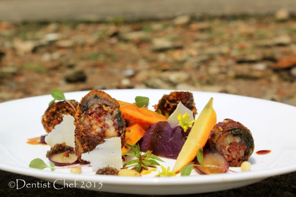 sousvide eel fillet fish rolled balsamic reduction carrot confit mashed sweet potato yam