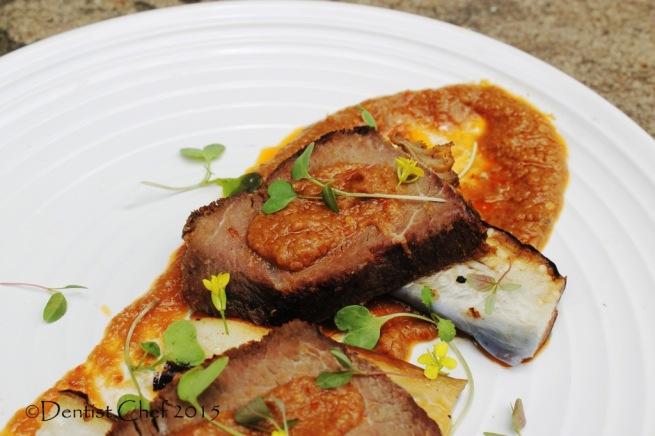 venison deer sous vide steak reindeer meat brown sauce micro herbs