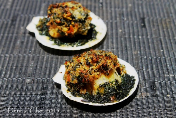 baked half shell scallops rockefeller gratin cheese spinach basil parsley butter