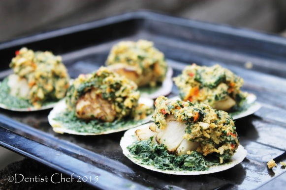 baked scallops half shell rockefeller spinach parsley gratin crispy butter spinach topping parmigiano reggiano cheese