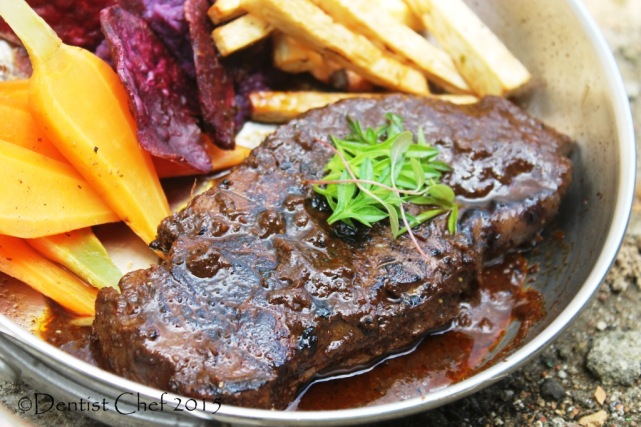 beef steak rendang sauce sous vide sirloin veal striploin calf