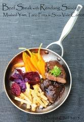 beef steak rendang sauce sous vide veal striploin calf striploin seared blowtorch taro french fries